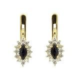 Золотые серьги с бриллиантами и сапфирами Ялта