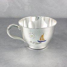 Серебряная чашка Кораблик с эмалью