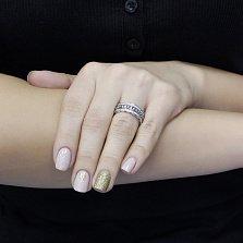 Серебряное кольцо Монна с фианитами в стиле Пандора