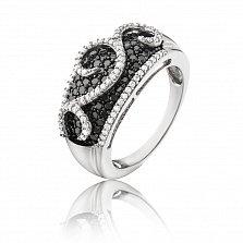 Золотое кольцо Гоар в белом цвете с узорами, дорожками, белыми и черными бриллиантами