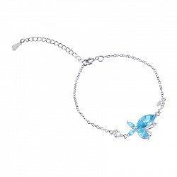 Серебряный браслет с голубым цирконием 000025880