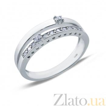 Серебряное кольцо с белыми цирконами AQA--71057б