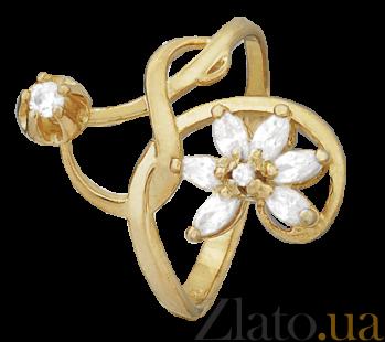 Серебряное кольцо с позолотой и фианитами Эдельвейс 000025605