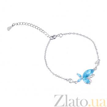 Серебряный браслет с синим цирконием Ванда 000025880