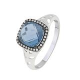 Кольцо в белом золоте Мириам с лондон топазом и бриллиантами