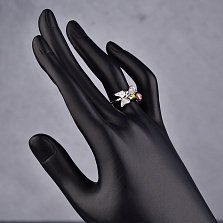 Серебряное кольцо Бантик-бабочка с разноцветными фианитами