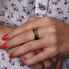 Кольцо из золота и каучука Бостон в красном и черном цвете с цирконием