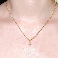 Крестик из желтого золота с фианитом Нежность