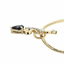 Подвес из желтого золота с сапфиром и бриллиантами Генриетта