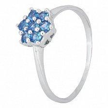 Серебряное кольцо с голубыми фианитами Ромашка