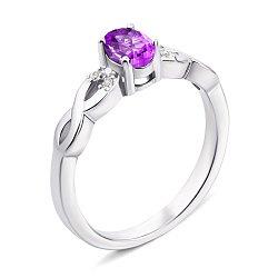 Серебряное кольцо с аметистом и фианитами 000137091