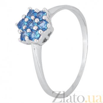 Серебряное кольцо с голубыми фианитами Ромашка 000028139