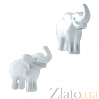 Серебряные серьги-пуссеты Милые слоники 000078032