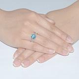 Серебряное кольцо Тропикана с голубым кварцем и фианитами