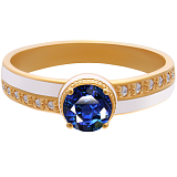 Золотое кольцо Белая королева с сапфиром, бриллиантами и эмалью