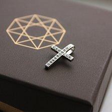 Серебряный крестик с фианитами Утренняя роса