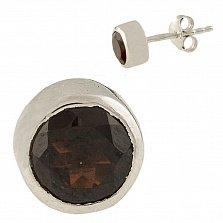 Серебряные серьги Энрика с гранатом