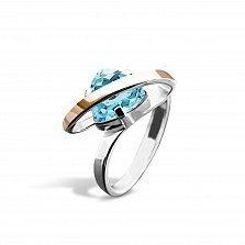 Серебряное кольцо Джанис с золотой накладкой, голубым алпанитом и родием