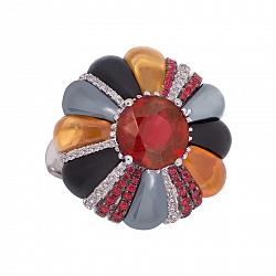 Золотое кольцо Milana с миксом камней 000017090