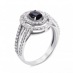 Серебряное кольцо с синтезированным сапфиром и фианитами 000136182