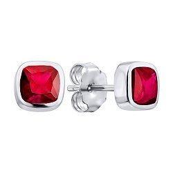 Серебряные серьги-пуссеты  с завальцованным цирконием Swarovski 000103076