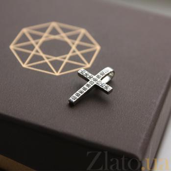 Серебряный крестик с фианитами Утренняя роса 000032474