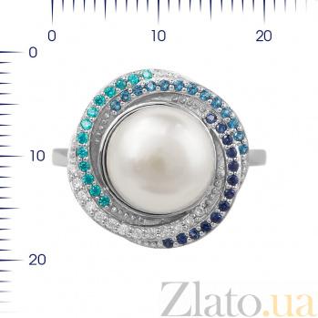 Серебряное кольцо Гелена с жемчугом, голубыми, синими и белыми фианитами 000081604