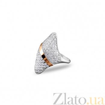 Серебряное кольцо Марица с золотой накладкой, фианитами и родием 000082101
