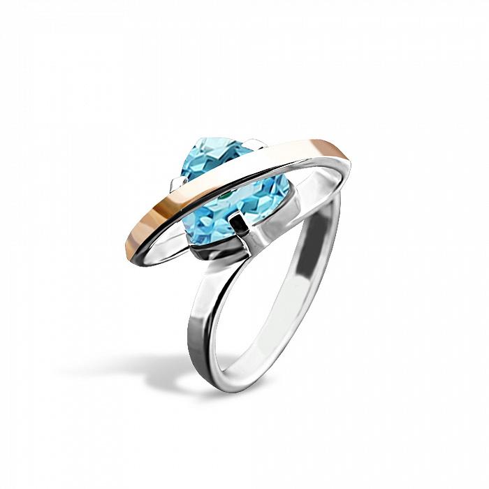 Серебряное кольцо Джанис с золотой накладкой, голубым алпанитом и родием 000082096