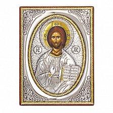 Икона с серебром Господь Вседержитель, 9х7см