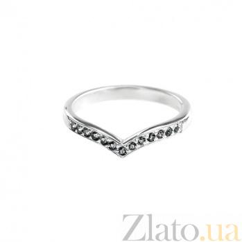 Золотое кольцо Верлена с чёрными бриллиантами 000021037