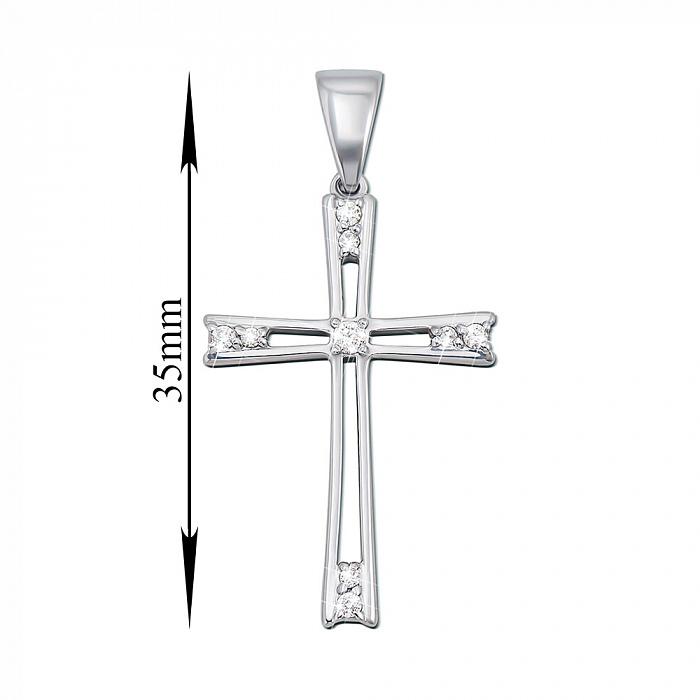 Крестик из белого золота с фианитами 000103863 000103863