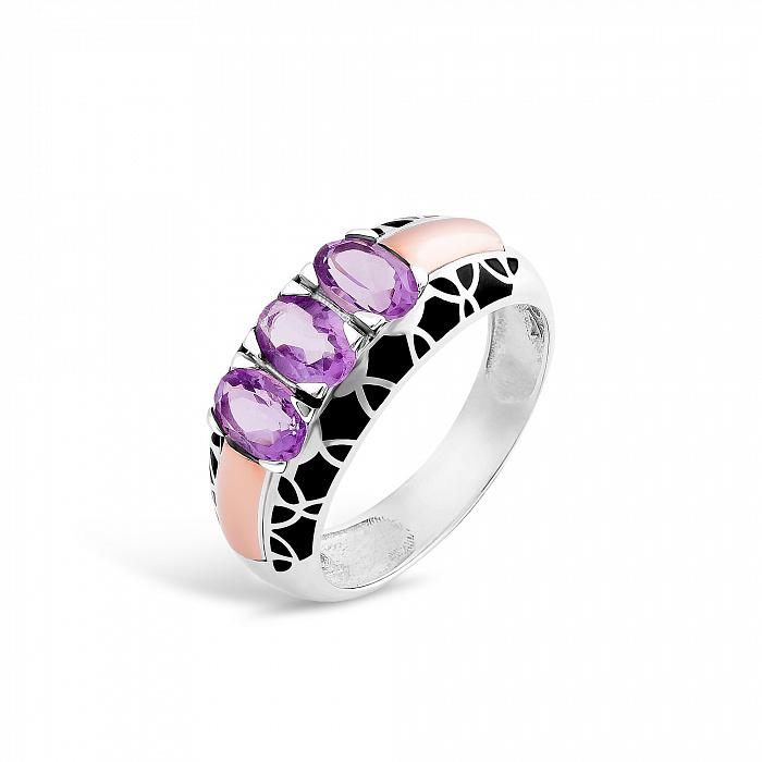 Серебряное кольцо Гульмира с золотой накладкой, фиолетовыми фианитами и черной эмалью 000067086