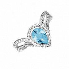 Серебряное кольцо Катарина с голубым кварцем и фианитами
