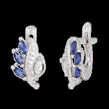 Сережки из серебра Олимпия с синим и белым цирконием