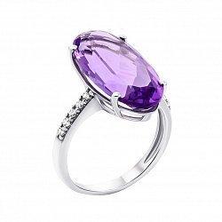 Серебряное кольцо с аметистом и фианитами 000129303