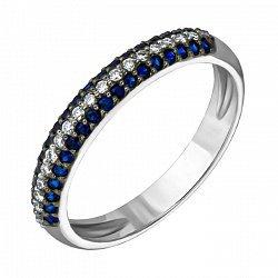 Кольцо из белого золота с сапфирами и бриллиантами 000003608