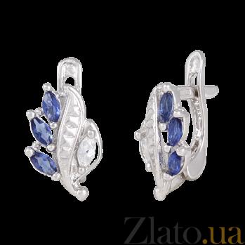Сережки из серебра Олимпия с синим и белым цирконием 000024610