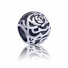 Серебряный черненый шарм Розовый сад