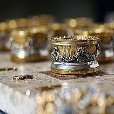 Серебряные шашки с позолотой Боги против Титанов