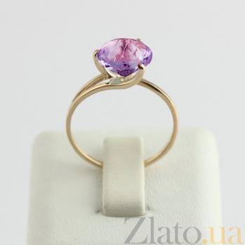 Золотое кольцо Селесте с синтезированным аметистом VLN--112-202-44