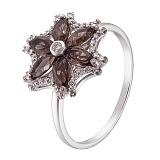 Кольцо в белом золоте Агния с раухтопазом и бриллиантами