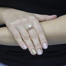 Золотое кольцо Марселина с жемчугом и фианитами