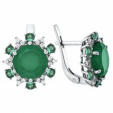 Серебряные серьги с зелёным агатом Бьюти