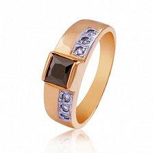 Золотое кольцо с черным цирконием Принцесса