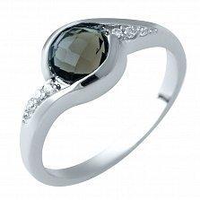 Серебряное кольцо Лозанна с раухтопазом и фианитами