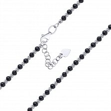 Серебряный браслет Гарнет с бусинками из черного оникса и насечками