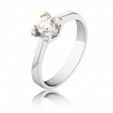 Золотое помолвочное кольцо Бренти в белом цвете с бриллиантом