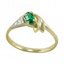 Золотое кольцо Анжелика в желтом цвете с синтезированным изумрудом и фианитами