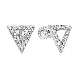 Серебряные серьги-пуссеты с белыми фианитами 000106899